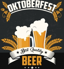 oktoberfest banner beer glass icons colored classical design