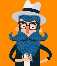 old beard moustache man icon colored cartoon design