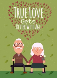 old love banner elderly couple icons hearts decoration