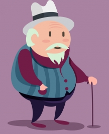 old man drawing colored cartoon design