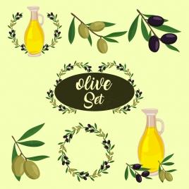 olive design element various symbols isolation