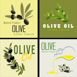 olive oil advertising banners fruits icon decoration