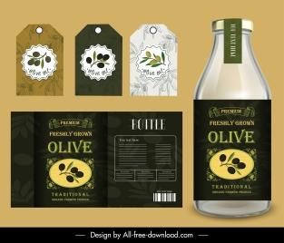 olive oil label templates elegant flat decor