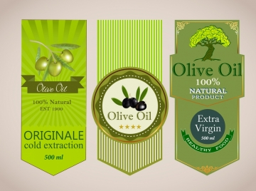 olive oil labels green decor fruit tree icons