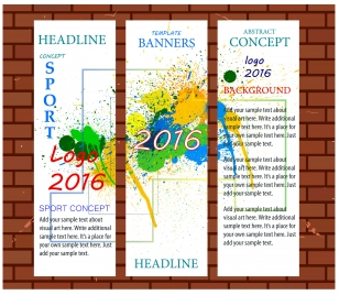 olympic 2016 banners templates with vertical colorful style