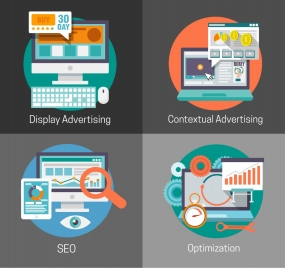 online advertising optimization concepts isolated with computer design