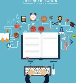 online education design elements book learning tools icons