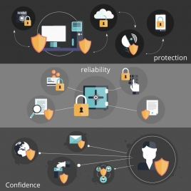 online information security concepts illustration with various icons