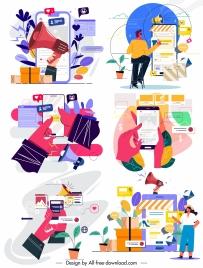 online marketing backgrounds colorful decor media emblems sketch