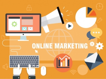 online marketing design elements colored flat symbols icons