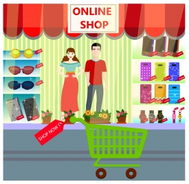 online shop concept design with store displaying goods