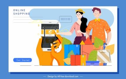 online shopping banner customers goods smartphone sketch