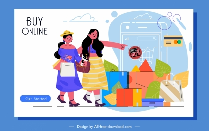 online shopping banner ladies goods icons cartoon sketch