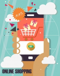 online shopping banner smartphone hand sales design elements