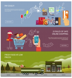 online shopping banners with various colorful flat vector