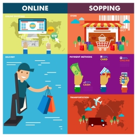 online shopping concepts illustration with various design elements