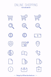 online shopping icons collection simple flat sketch