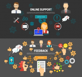 online support banners design with interfaces on dark