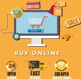 online trading banner computer trolley convenience icons