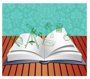 open book on wood with school equipment