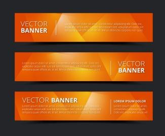 orange background horizontal banner vector sets