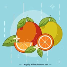 orange fruit background colorful classic handdrawn sketch