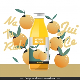 orange juice advertising banner dynamic flat texts fruits