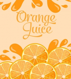 orange juice advertising banner slices splash icons