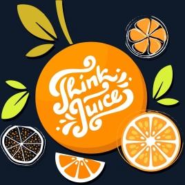 orange juice advertising flat classical colored design