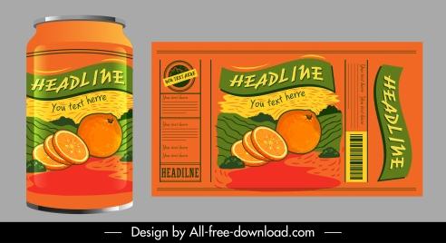 orange juice label template dark colored classic handdrawn