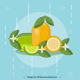 orange lemon fruits background colorful flat classic sketch