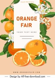 orange tree banner colorful fruits flower decor