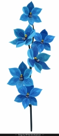 orchid flora icon classical blue decor