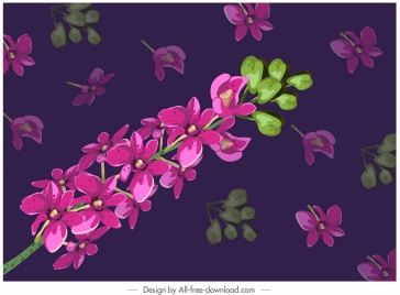 orchid flora painting colored classic blurred decor