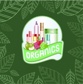 organic cosmetic advertisement green leaves backdrop fruit icons