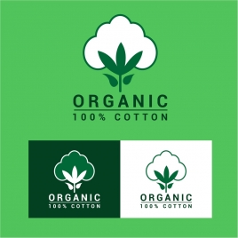 organic cotton lables tree design on bright background