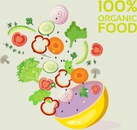 organic food advertisement ingredient vegetables bowl icons decor