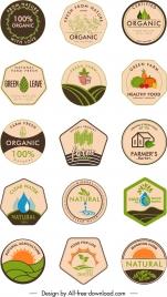 organic food label templates retro flat geometric shapes
