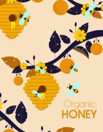 organic honey background beehive flower branch icons