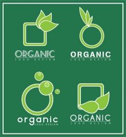 organic logo sets various shapes in green