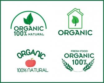 organic product logo sets collection various symbols design