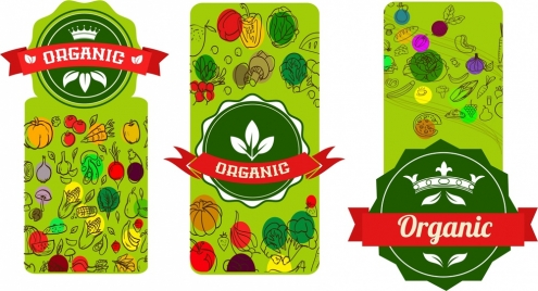 organic promotion tags various elements in vertical style