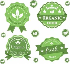 organic seals sets green ornament leaf star icons