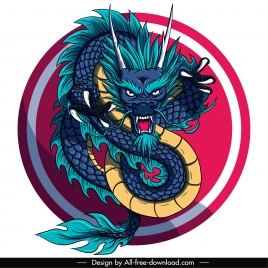 oriental dragon template colorful classical impressive design