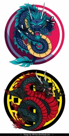 oriental dragon templates colorful classical design