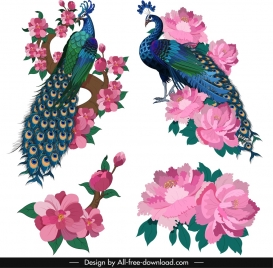 oriental painting design elements peacocks flowers icons sketch