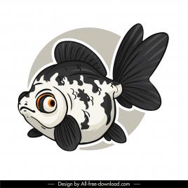 ornamental fish icon black white handdrawn sketch