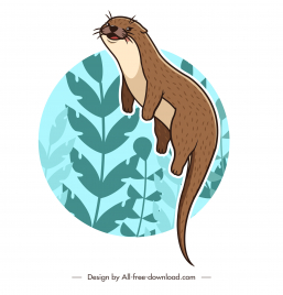 otter species icon classic handdrawn cartoon sketch