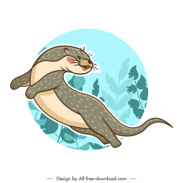 otter species icon classical handdrawn sketch