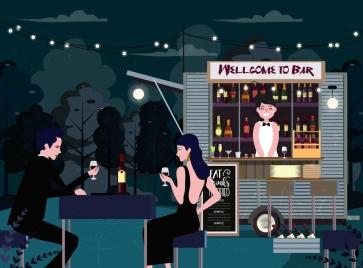 outdoor bar drawing elegant guests booth cartoon design